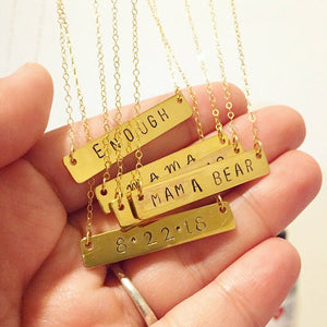 Personalized Hand-stamped Custom Gold Bar Necklace - 14k Gold Fill Chain
