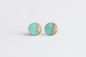 Mint Gold Color Block Stud Earrings