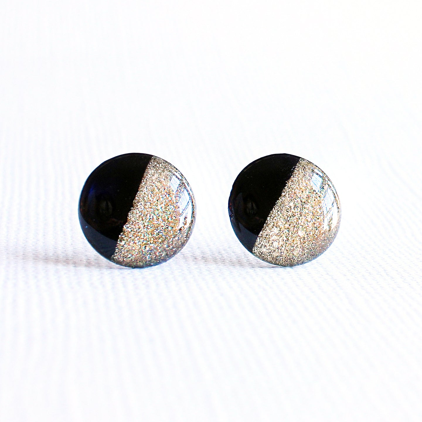 Black & Gold Color Block Stud Earrings