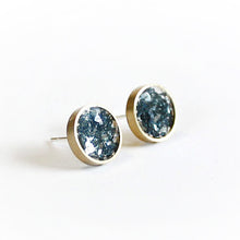 Load image into Gallery viewer, Azure Blue Brass Stud Earrings