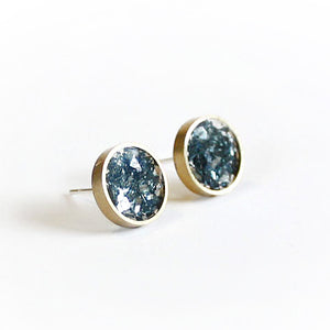 Azure Blue Brass Stud Earrings