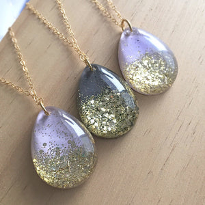 Gold Cascade Glitter Necklace - 14k Gold Fill Chain - 24