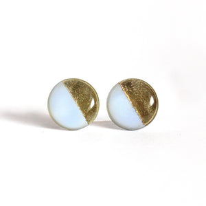 Pastel Blue & Gold Color Block Stud Earrings