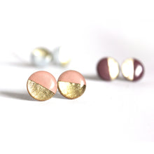 Load image into Gallery viewer, Mauve & Gold Color Block Stud Earrings