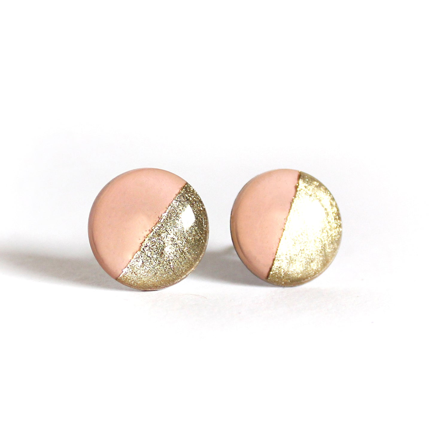 Baby Pink & Gold Color Block Stud Earrings