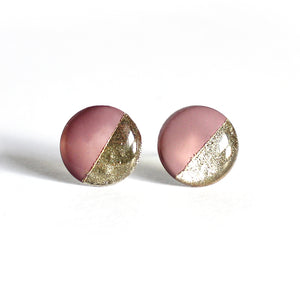 Mauve & Gold Color Block Stud Earrings