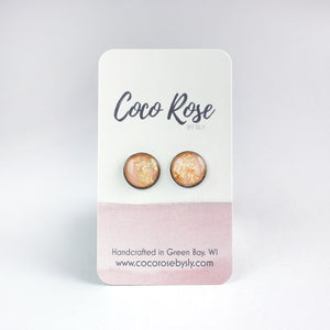 Brass & Pink Stud Earrings