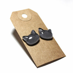 Gray Cat Hand-Casted Resin Stud Earrings - Hypoallergenic Earrings for Sensitive Ears
