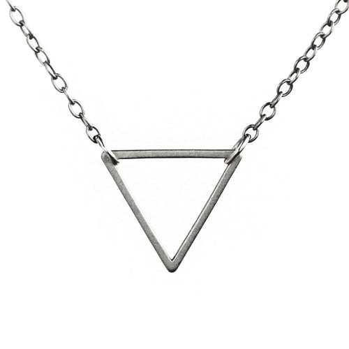 Sterling Silver Triangle Necklace - .925 Sterling Silver 18