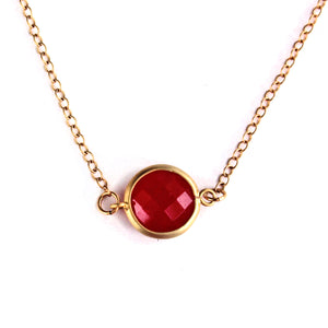 Fuchsia Stone Quartz Framed Necklace -14k Gold Fill