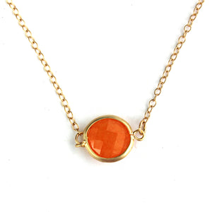 Orange Fire Stone Quartz Framed Necklace -14k Gold Fill