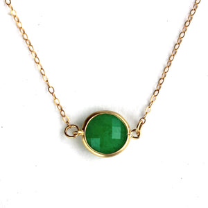 Forest Green Stone Quartz Framed Necklace -14k Gold Fill