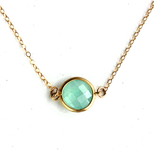Mint Stone Quartz Framed Necklace -14k Gold Fill