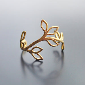 Matte Brushed Gold Olive Branch Ring