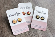 Load image into Gallery viewer, Brass & Pink Stud Earrings