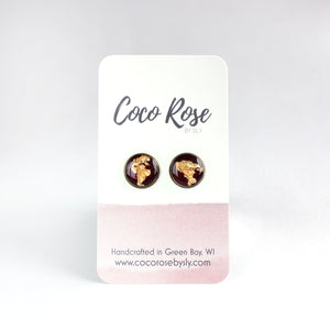 Brass & Wine Stud Earrings