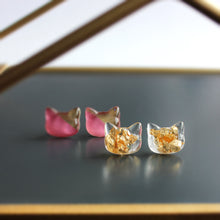 Load image into Gallery viewer, Gold Flake Cat Hand-Casted Resin Stud Earrings - Hypoallergenic Earrings for Sensitive Ears