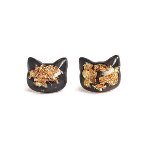 Charcoal Gold Flake Cat Hand-Casted Resin Stud Earrings - Hypoallergenic Earrings for Sensitive Ears