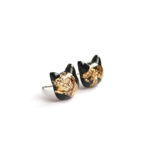 Load image into Gallery viewer, Charcoal Gold Flake Cat Hand-Casted Resin Stud Earrings - Hypoallergenic Earrings for Sensitive Ears