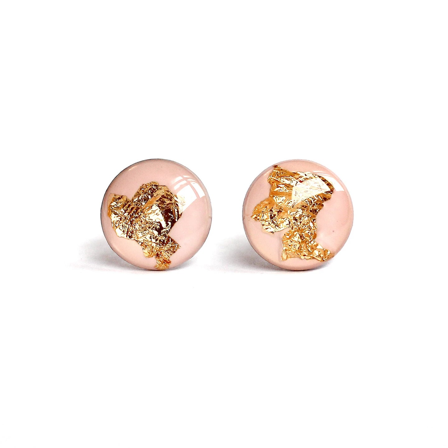 Baby Pink Gold Flake Stud Earrings