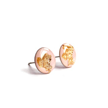 Load image into Gallery viewer, Baby Pink Gold Flake Stud Earrings