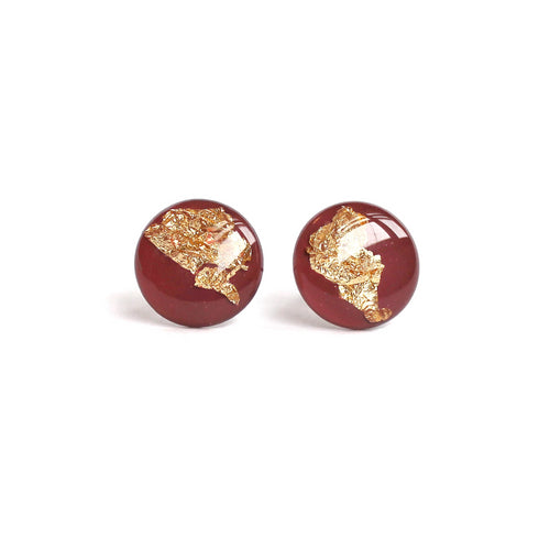 Mauve Gold Flake 12mm Stud Earrings
