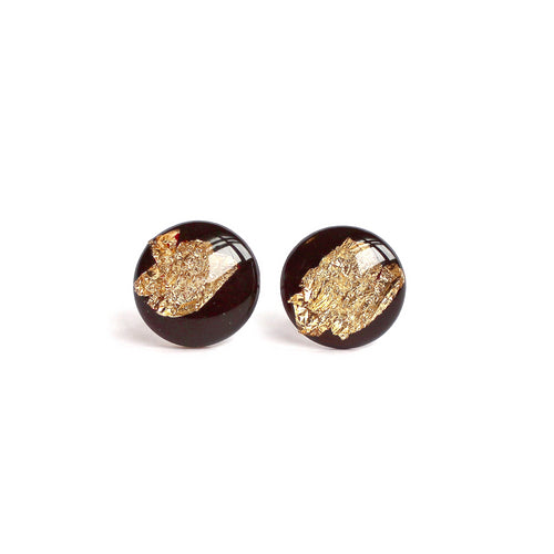 Plum Gold Flake 12mm Stud Earrings