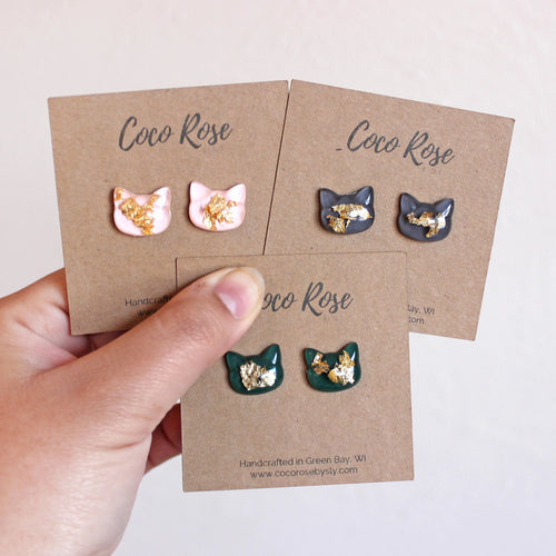 Gold Flake Cat Hand-Casted Resin Stud Earrings - Hypoallergenic Earrings for Sensitive Ears