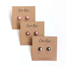 Load image into Gallery viewer, Rose & Gold Resin Earrings - Hypoallergenic Earrings for Sensitive Ears