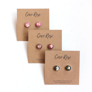 Rose & Gold Resin Earrings - Hypoallergenic Earrings for Sensitive Ears