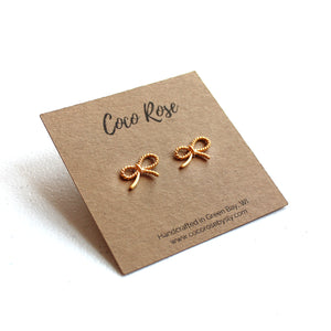 14k Gold Fill Mini Bow Stud Earrings with Sterling Silver Posts