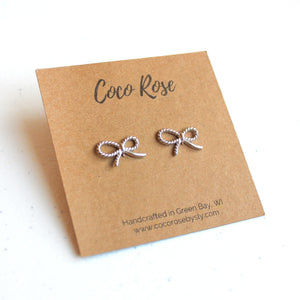 Sterling Silver Mini Bow Stud Earrings