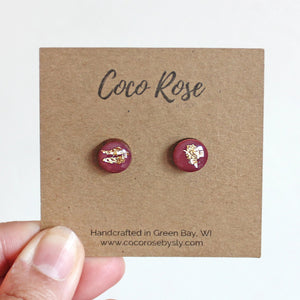 Mauve & Gold Resin Earrings - Hypoallergenic Earrings for Sensitive Ears