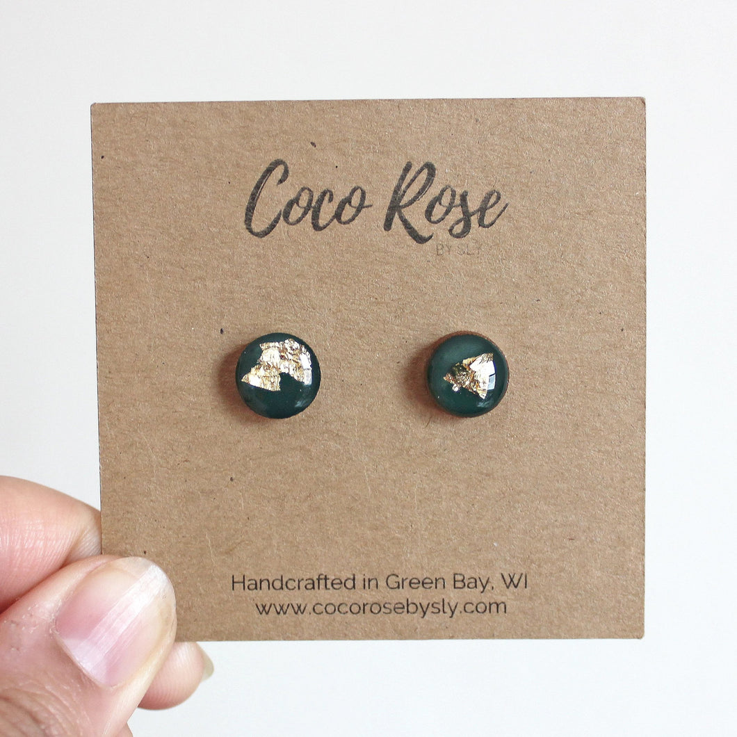 Green & Gold Resin Earrings - Hypoallergenic Earrings for Sensitive Ears