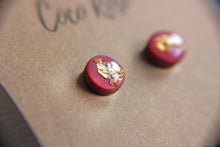 Load image into Gallery viewer, Mauve & Gold Resin Earrings - Hypoallergenic Earrings for Sensitive Ears