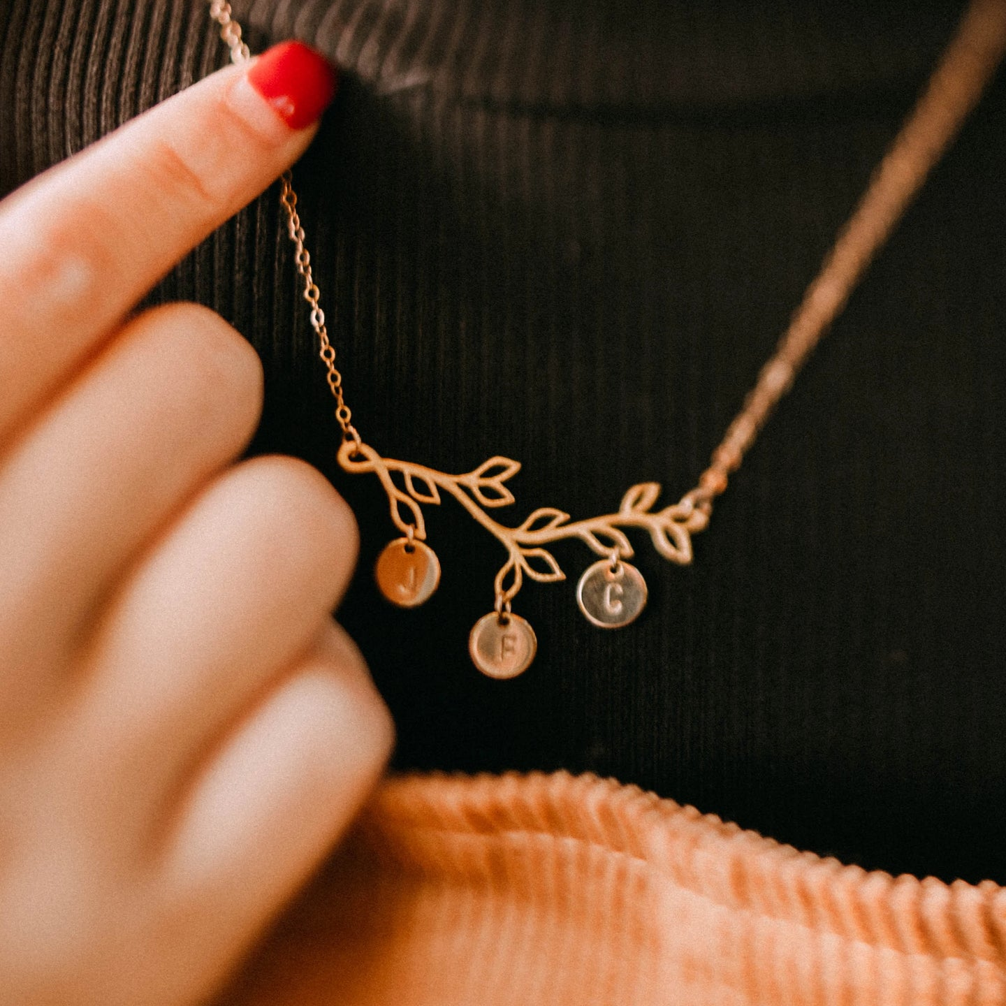 Olivia Personalized Branch Necklace with Hand-Stamped Initial Discs - 14k Gold Fill Chain