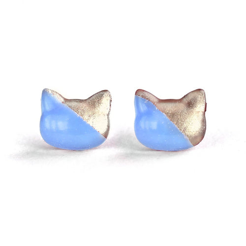 Sky Blue Cat Hand-Casted Resin Stud Earrings - Hypoallergenic Earrings for Sensitive Ears