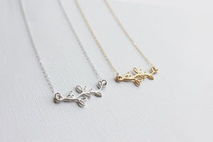 Olive Branch Necklace - 14k Gold Fill or Sterling Silver