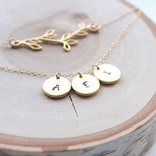 Load image into Gallery viewer, Personalized Hand-stamped Initial Necklace - Matte Finish - Sterling Silver or 14k Gold Fill Layering Necklace