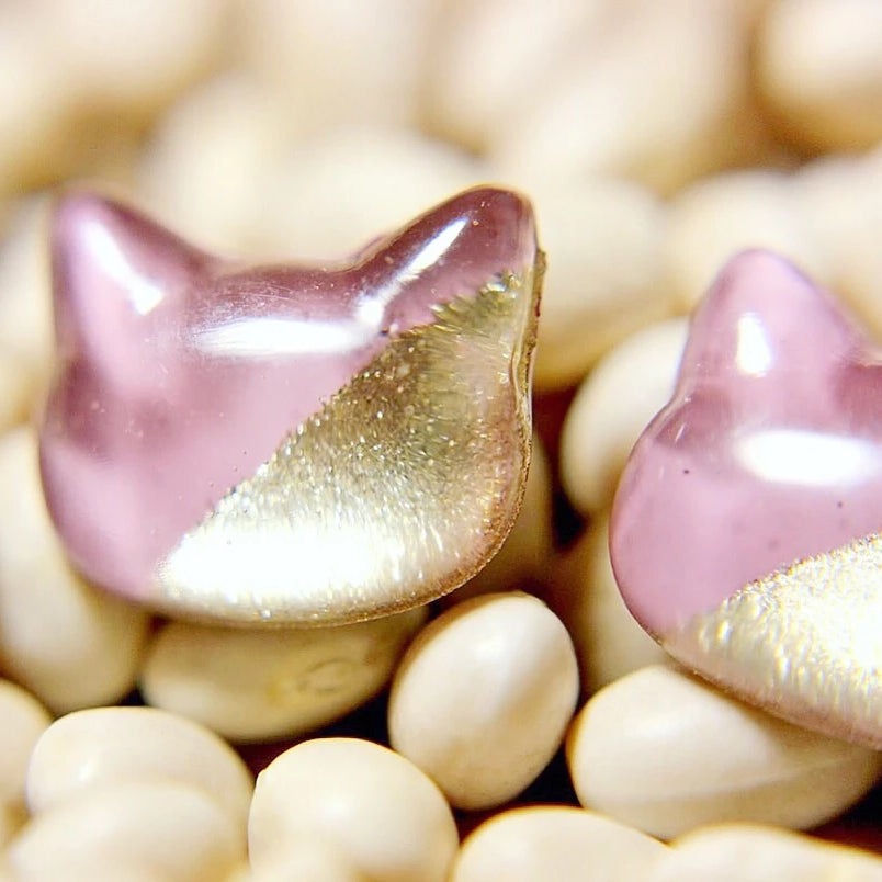 Lavender Cat Hand-Casted Resin Stud Earrings - Hypoallergenic Earrings for Sensitive Ears