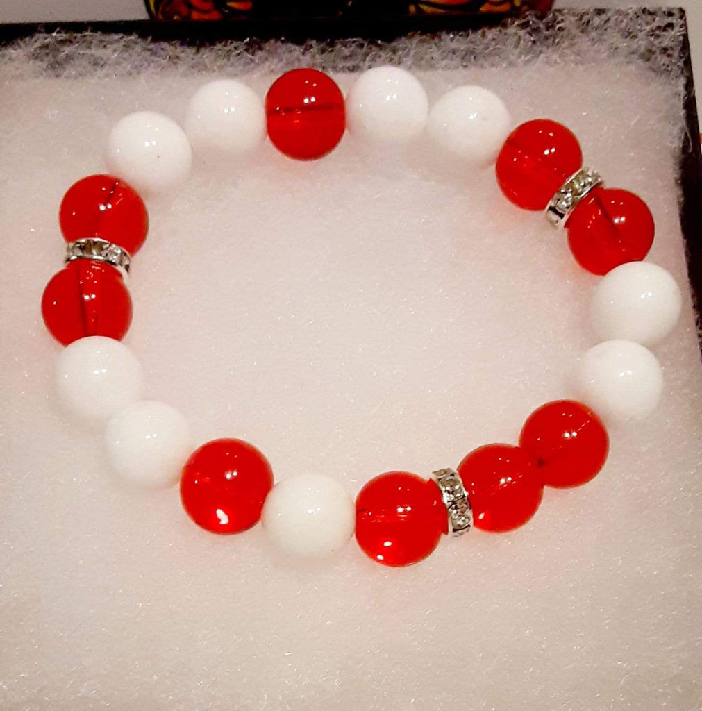 Elle Shanell Medium 7 Red White Single Bracelet