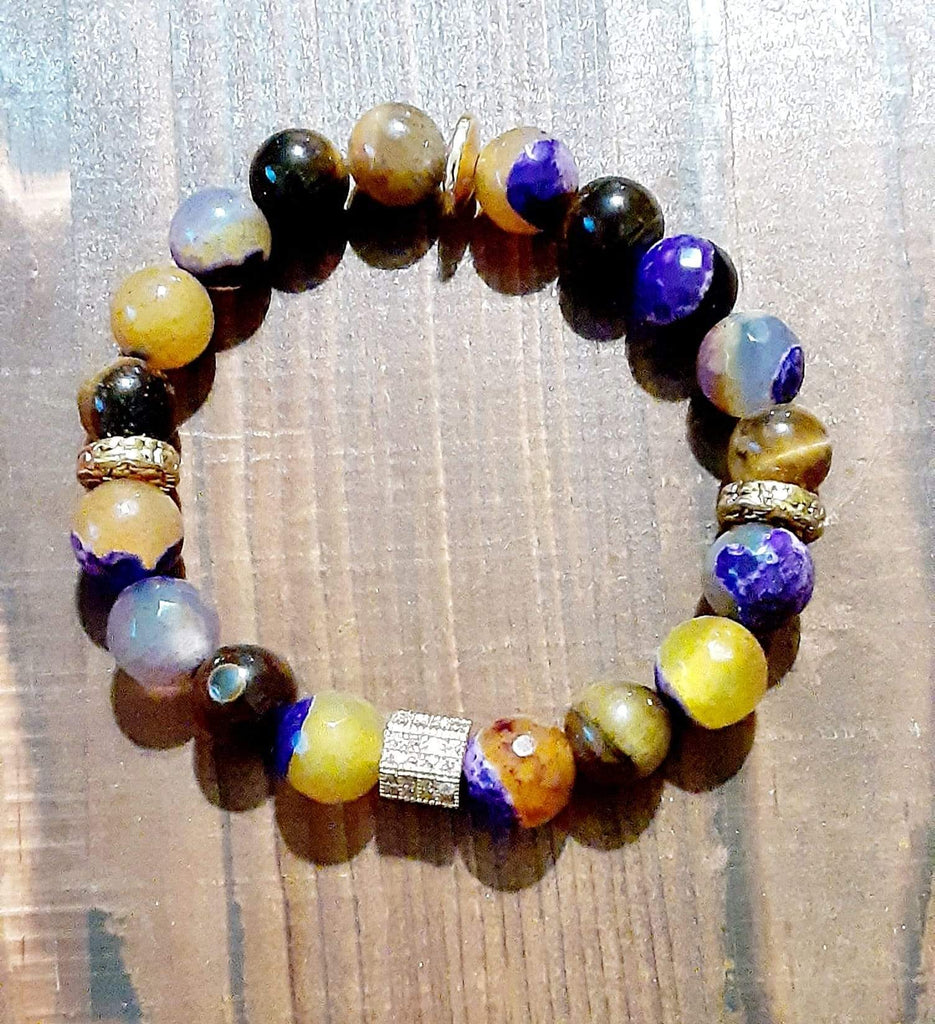 Elle Shanell Men's Purple and Yellow Agate Bracelet