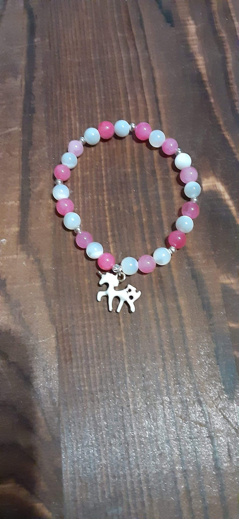 Elle Shanell Pink and White Little Girls Unicorn Bracelet