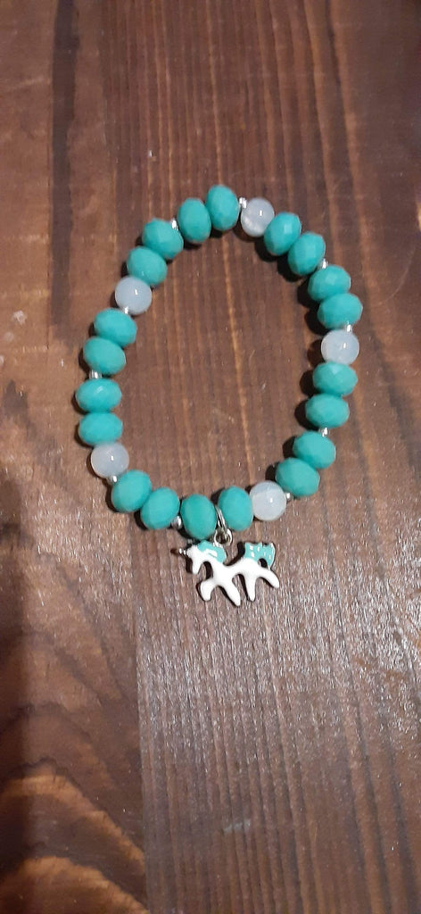 Elle Shanell Turquoise and White Little Girls Unicorn Bracelet