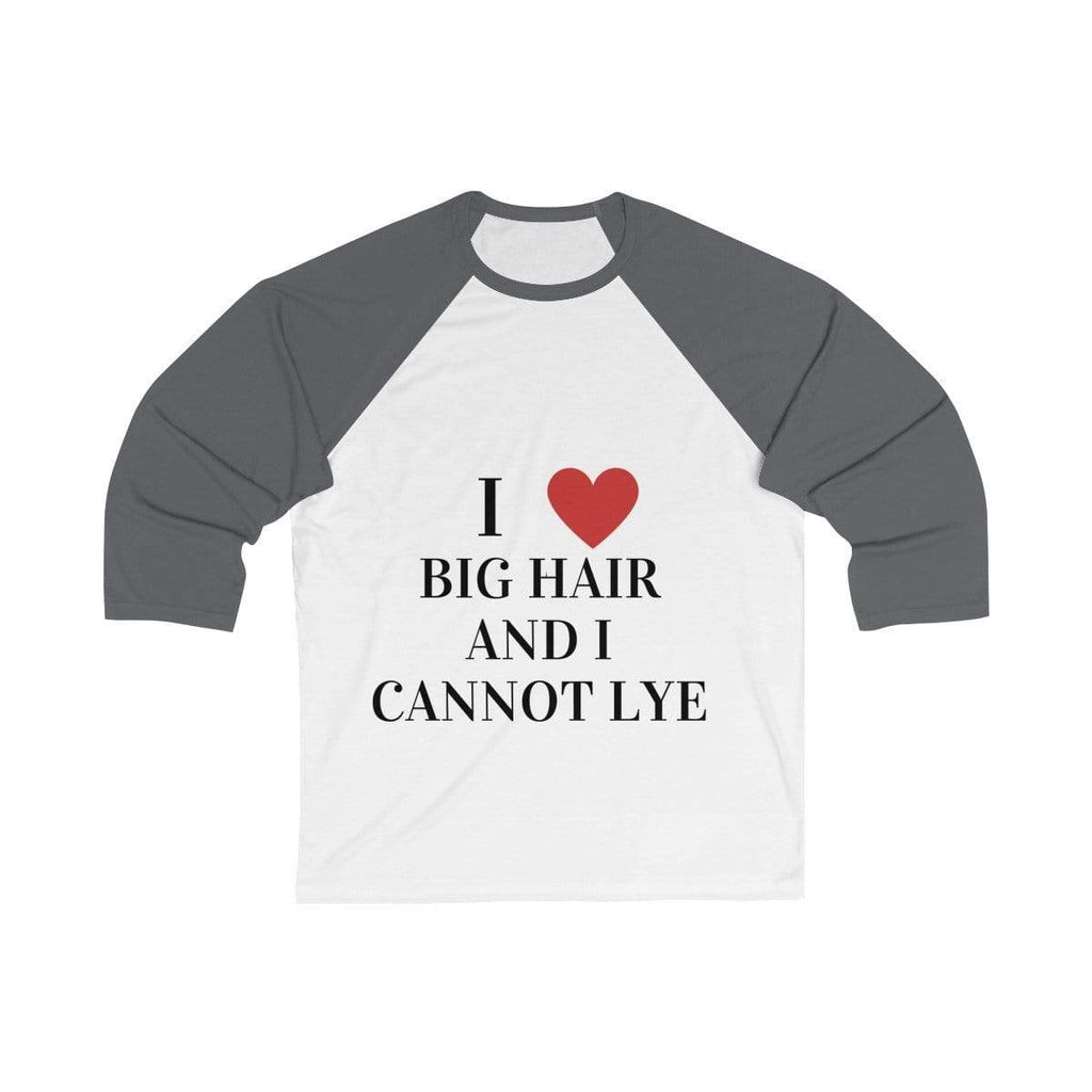 Printify Long-sleeve White/ Asphalt / L Big Hair Baseball Shirt