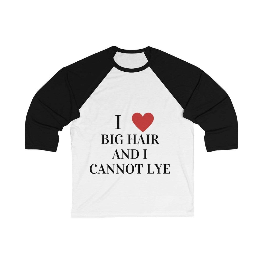Printify Long-sleeve White/ Black / S Big Hair Baseball Shirt