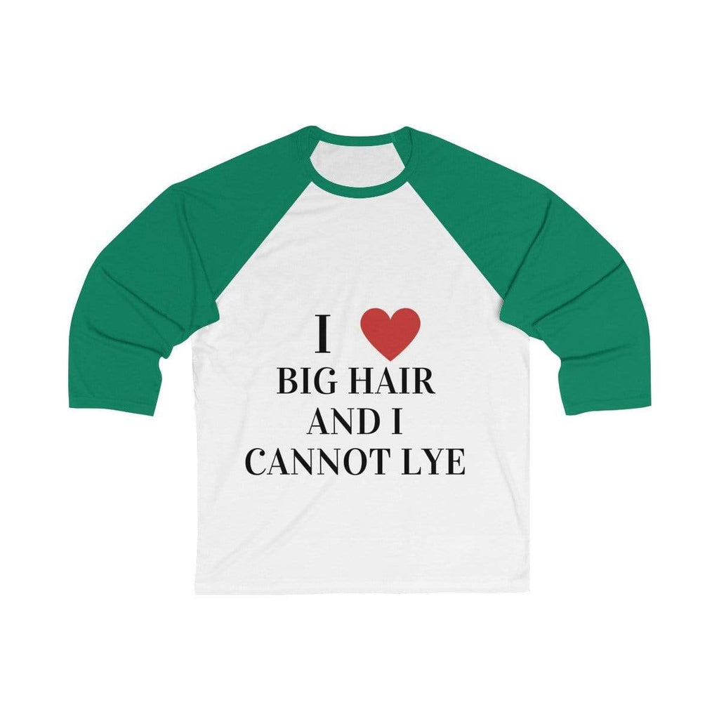 Printify Long-sleeve White/ Kelly / S Big Hair Baseball Shirt