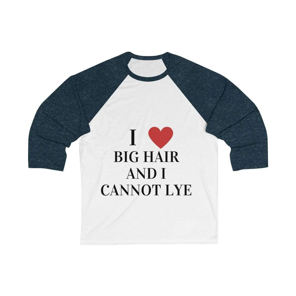 Printify Long-sleeve White/ Navy / S Big Hair Baseball Shirt