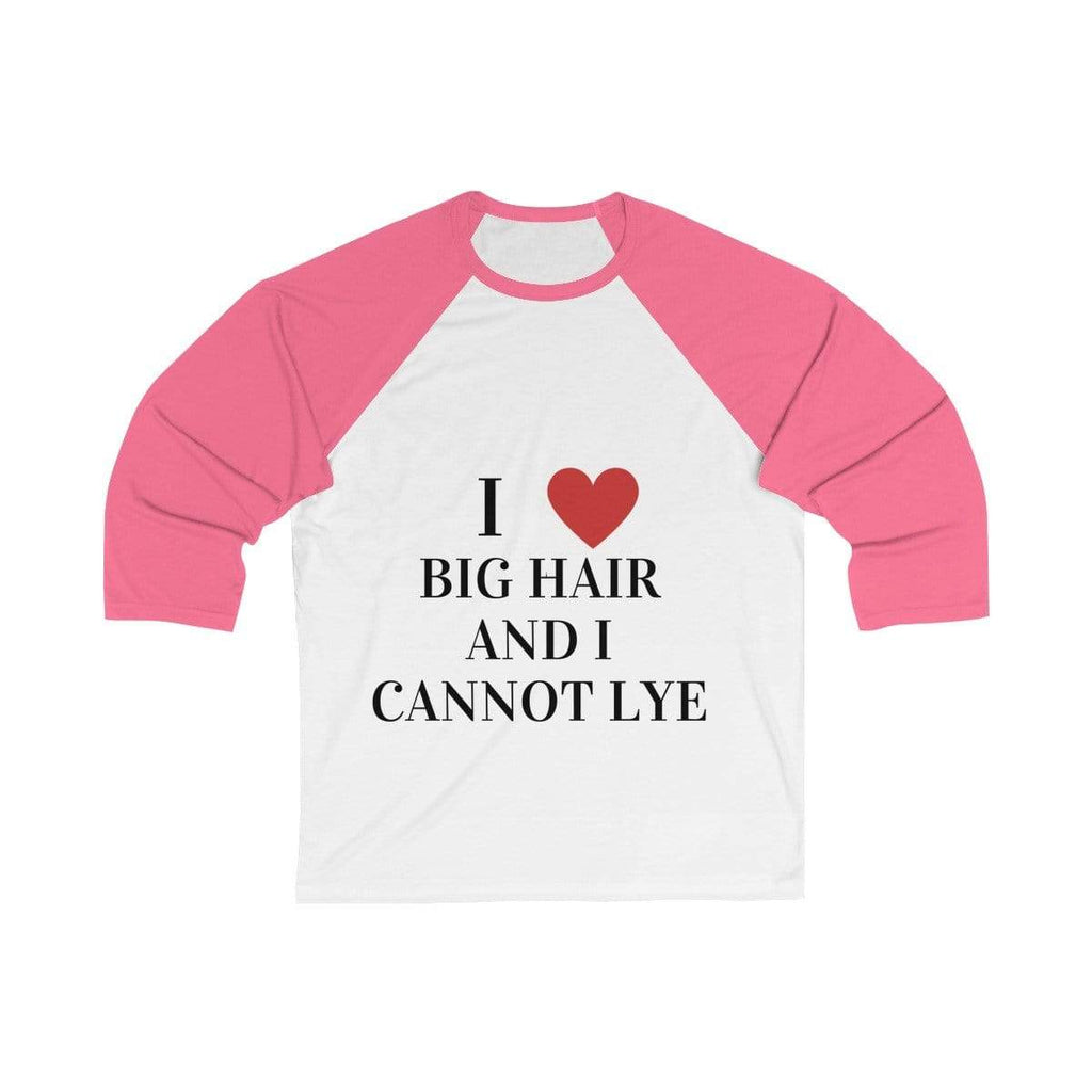 Printify Long-sleeve White/ Neon Pink / S Big Hair Baseball Shirt