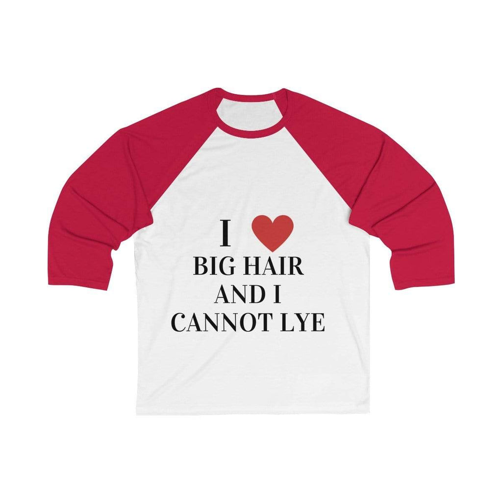 Printify Long-sleeve White/ Red / S Big Hair Baseball Shirt